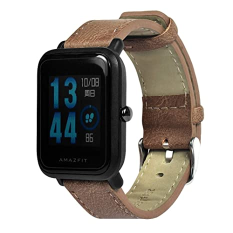 Saisiyiky Bracelet de Montre en Cuir véritable pour Xiaomi Huami Amazfit Bip Youth Watch: Amazon.fr: High-tech