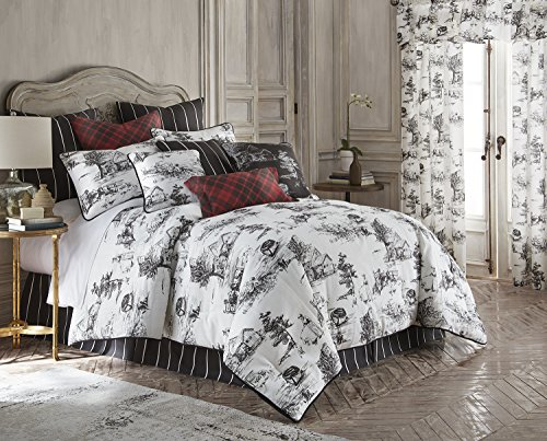 - Toile Back in Black Comforter Set - Linen California King