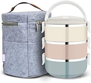 3 Layer Stainless Steel Leakproof Lunch Box, Portable Carry Hand Food Storage Container for Work Lunches, Picnic, Travel, Camping with Lunch Bag