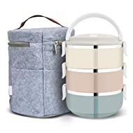 FairyMe Lunch Containers, Stainless Steel Stack-able Food Storage Container, Lunch Box with 3 Round Bowls Lid of Food Saver with Lunch Bag for Work Lunches, Picnic, Travel, BBQs, Camping, Beach
