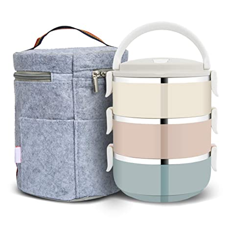 efed61d981c7 FairyMe Lunch Containers, Stainless Steel Stack-able Food Storage  Container, Lunch Box with 3 Round Bowls Lid of Food Saver with Lunch Bag  for Work ...