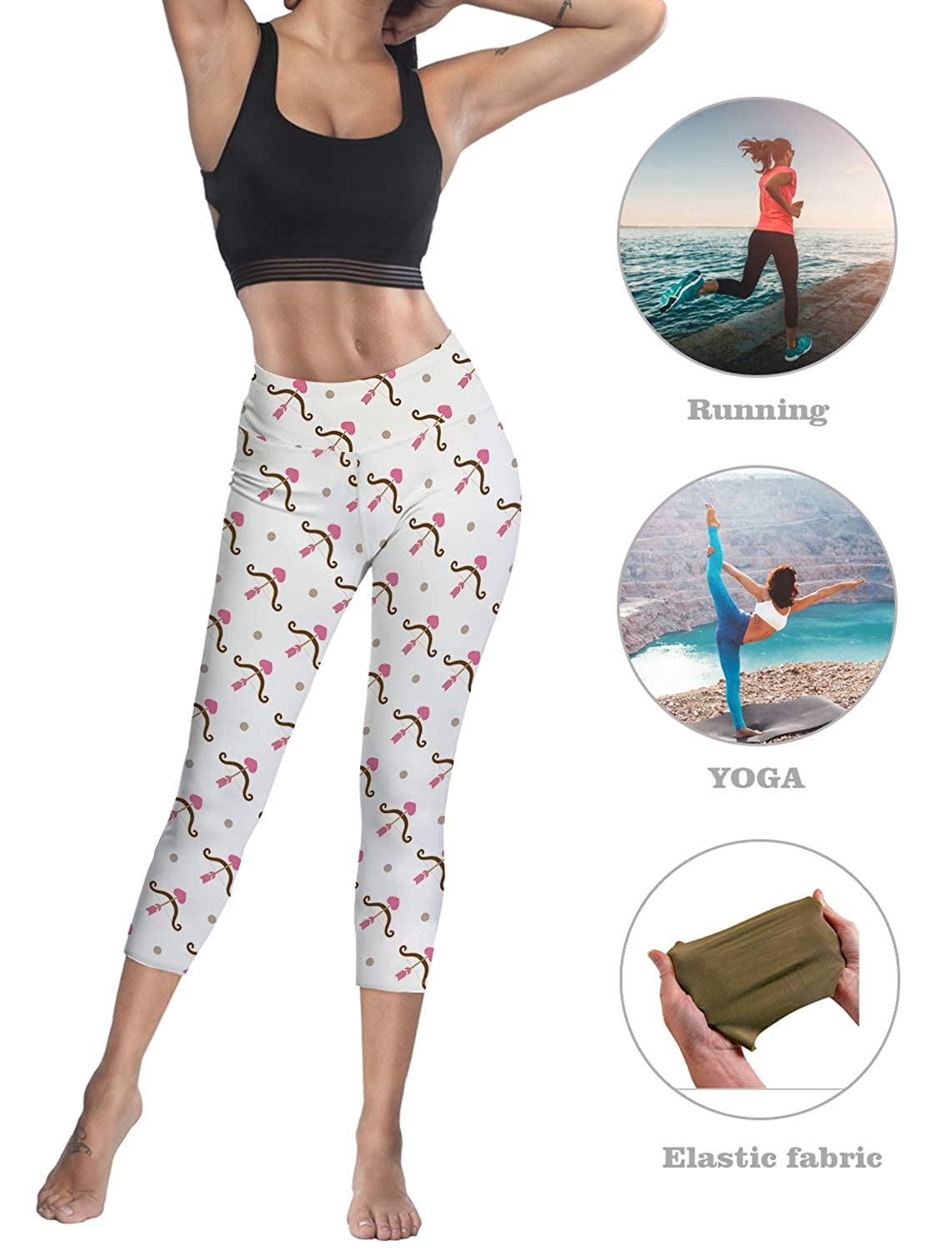 Custom Cupid Lyre Yoga Pants Leggings for Women Stretchy Skinny Pants Cropped Trousers Leggings for Running Sports