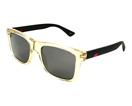 969cba23bf Amazon.com: Gucci GG0008S 005 (Transparent Brown - Matt Black with ...