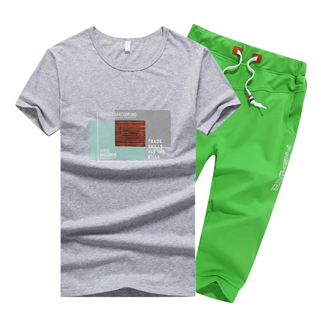 Sun Lorence Big Boys 2 Piece Casual Outdoor Active T-Shirt and Shorts Set Sportswear