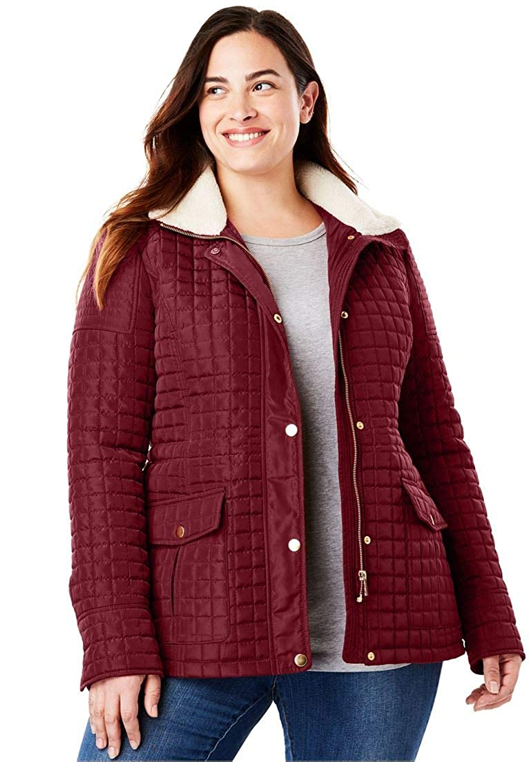 Woman Within Plus Size Quilted Utility Jacket