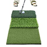 GOLDEN MOON Golf Mat Residential Golf Hitting Training Tri-Turf with Free Tees