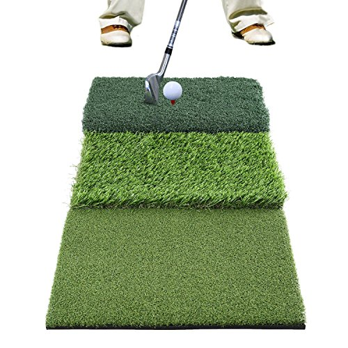 GOLDEN MOON Golf Mat Residential Golf Hitting Training Tri-Turf with Free ()