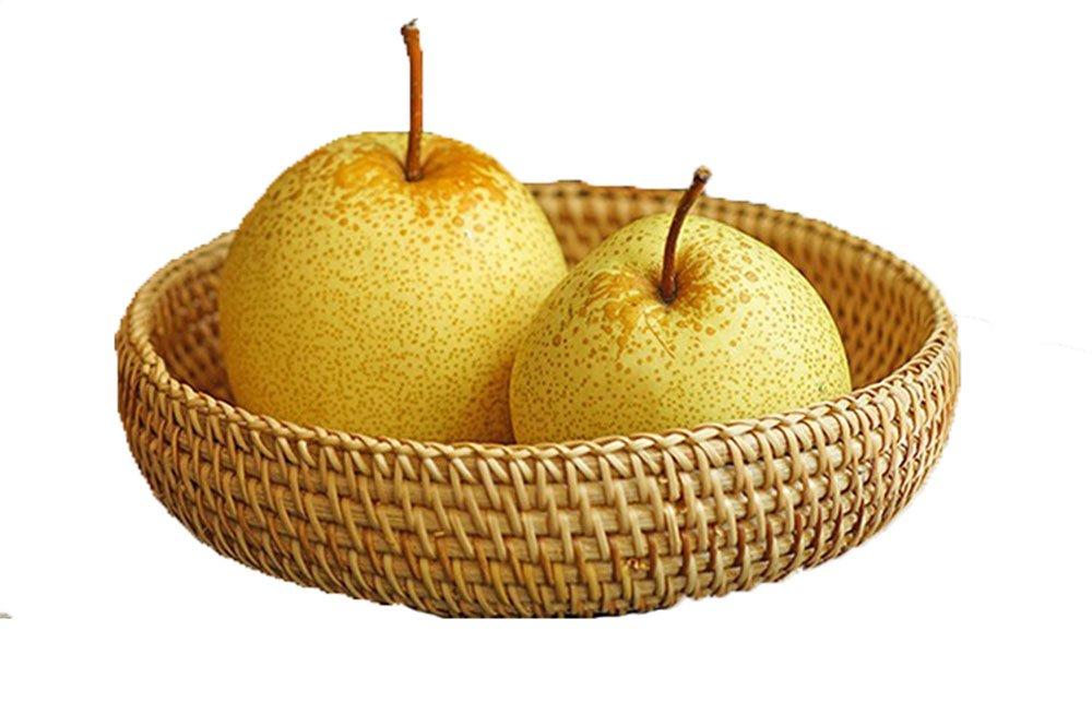 Regalo decorativo intrecciato a mano piccola rotonda cesti di vimini rattan intrecciato Fruit basket vassoio portaoggetti organizer da cucina artigianale ciotola per servire frutta porta rete da regalo per donne 18 cm 1 Albb