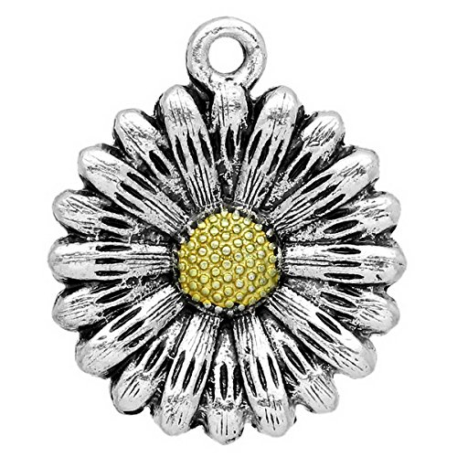 Tone Daisy Flower (Housweety 10PCs Silver Tone Charm Pendants Sun Flower Daisy Model 24x20mm(1