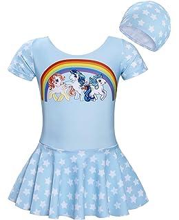 4c1e3429523a Jurebecia Girls Unicorn Swimwear One Piece Swimming Costume with Cap Short  Sleeve…