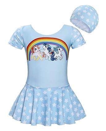 66695d65eb8ed Jurebecia Girls One Piece 2 Pieces Swimsuit Swimwear Kids Unicorn Rainbow  Tankini Bathing Suit Bikinis
