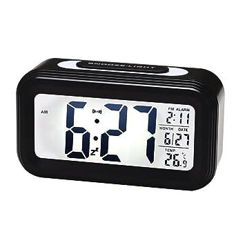 Reloj despertador digital con retroiluminación Snooze suave luz de noche para dormir Viaje: Amazon.es: Hogar
