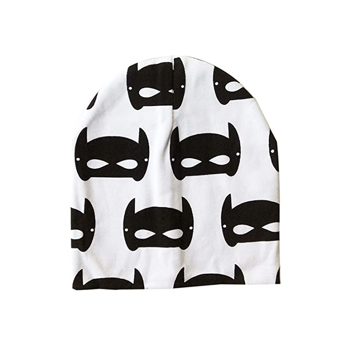 Amazon.com  Dreamstar Baby Hat Knit Cotton Cartoon Batman Print Caps ... 134cb398aeec