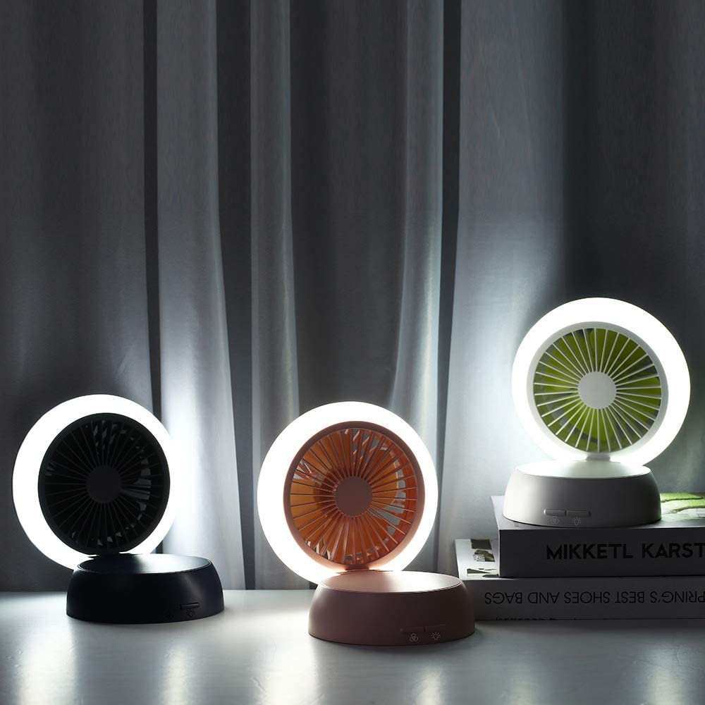 Ultra-Quiet Portable Desktop Mute Small Fan with USB Cable Macarons JIAOBA Fan Mini Night Light Three Gear Adjustment Color : B USB Charging Essential Summer Artifact