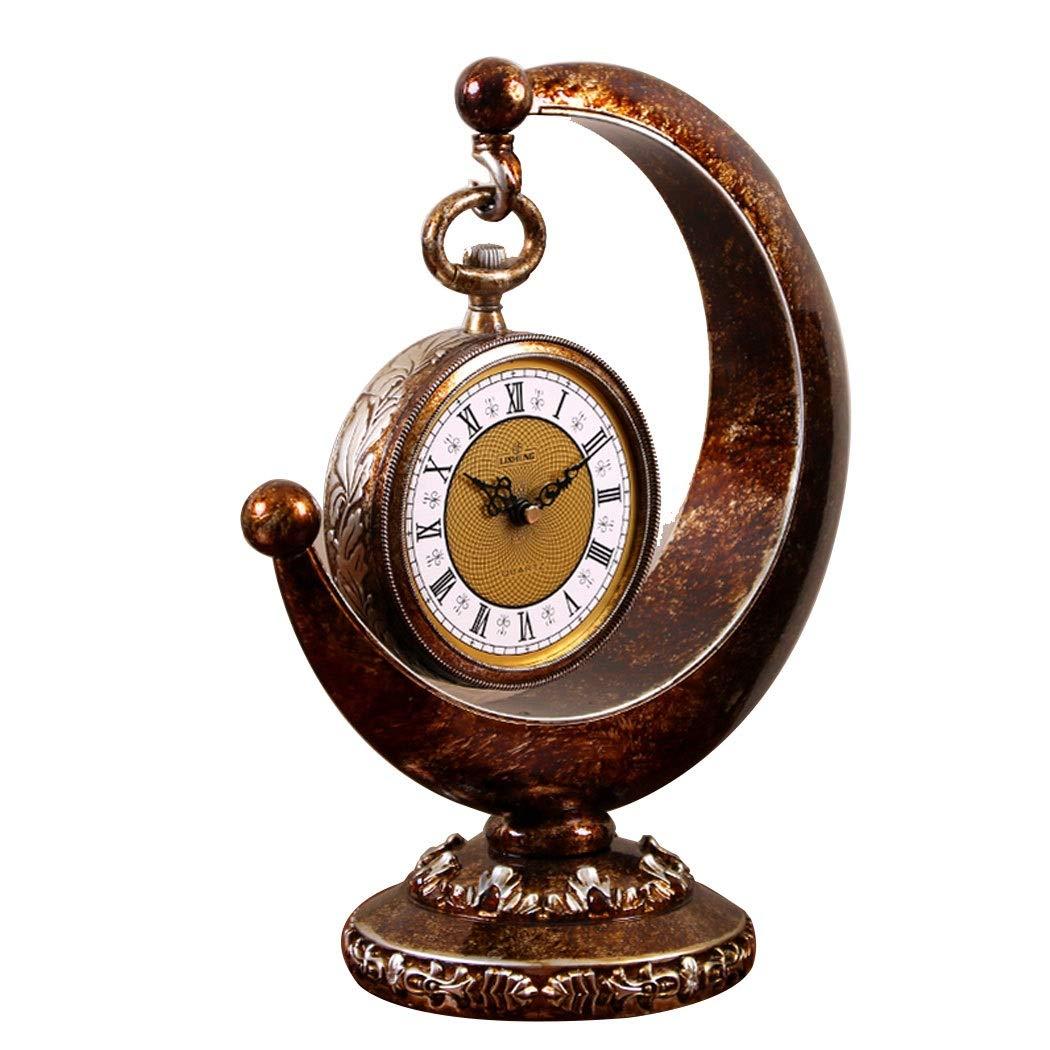 HONGNA European Plastic Clock Ornaments Living Room Home Clocks Atmosphere Sitting Clocks Desktop Pendulum Clock Creative Desk Clock Desktop Clocks 12 Inches (Color : Brown, Size : 12 inches) by HONGNA (Image #1)