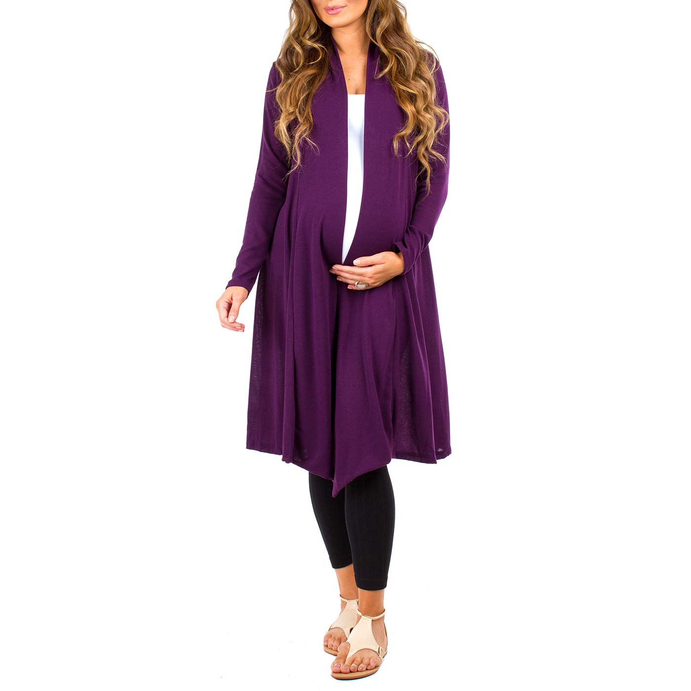 Made in USA Womens Long Draped Maternity and Nursing Cardigan