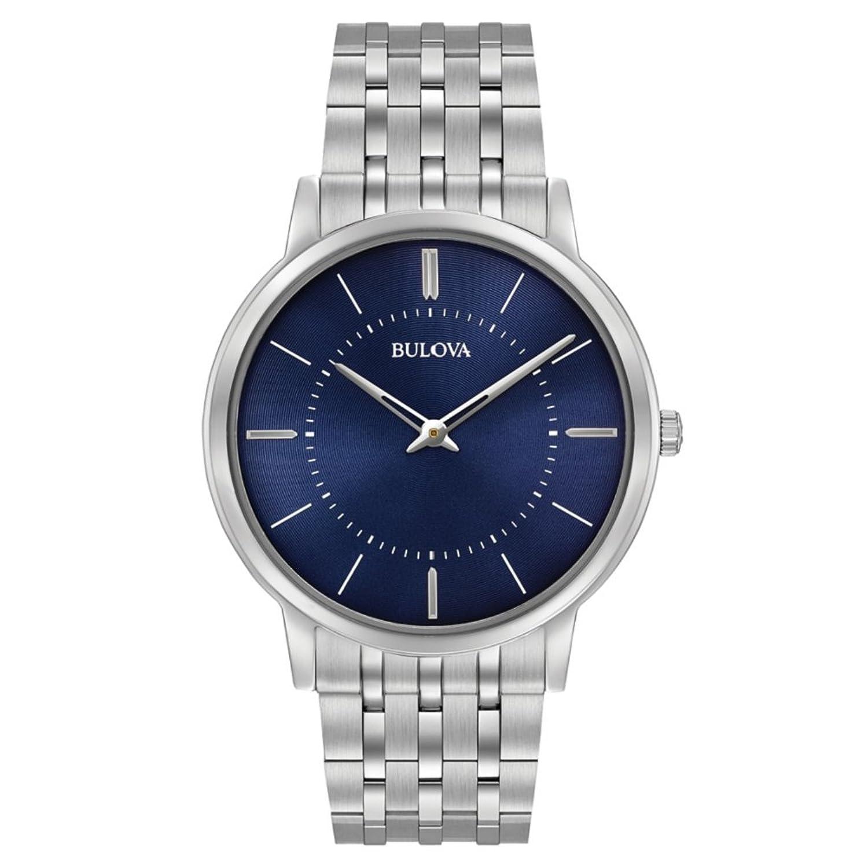 Bulova Ultra Slim 96A188 - Herren Designer-Armbanduhr - Armband aus Edelstahl - blaues Zifferblatt