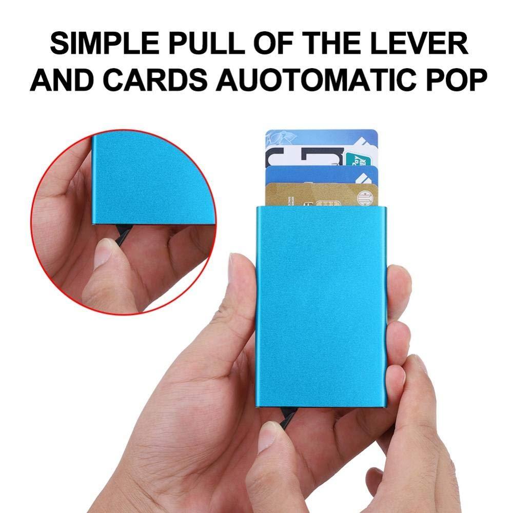 # 1 Zetiling Titolare della Carta Robusto Porta Carte di Credito in Alluminio Porta Carte di Credito in Metallo Sottile per Donne o Uomini