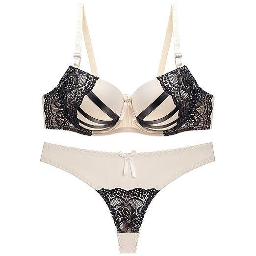676633521e Julexy BC Sexy Thongs Women Bra Set Push Up Lingerie Set Lace Underwear  Panty Set B09