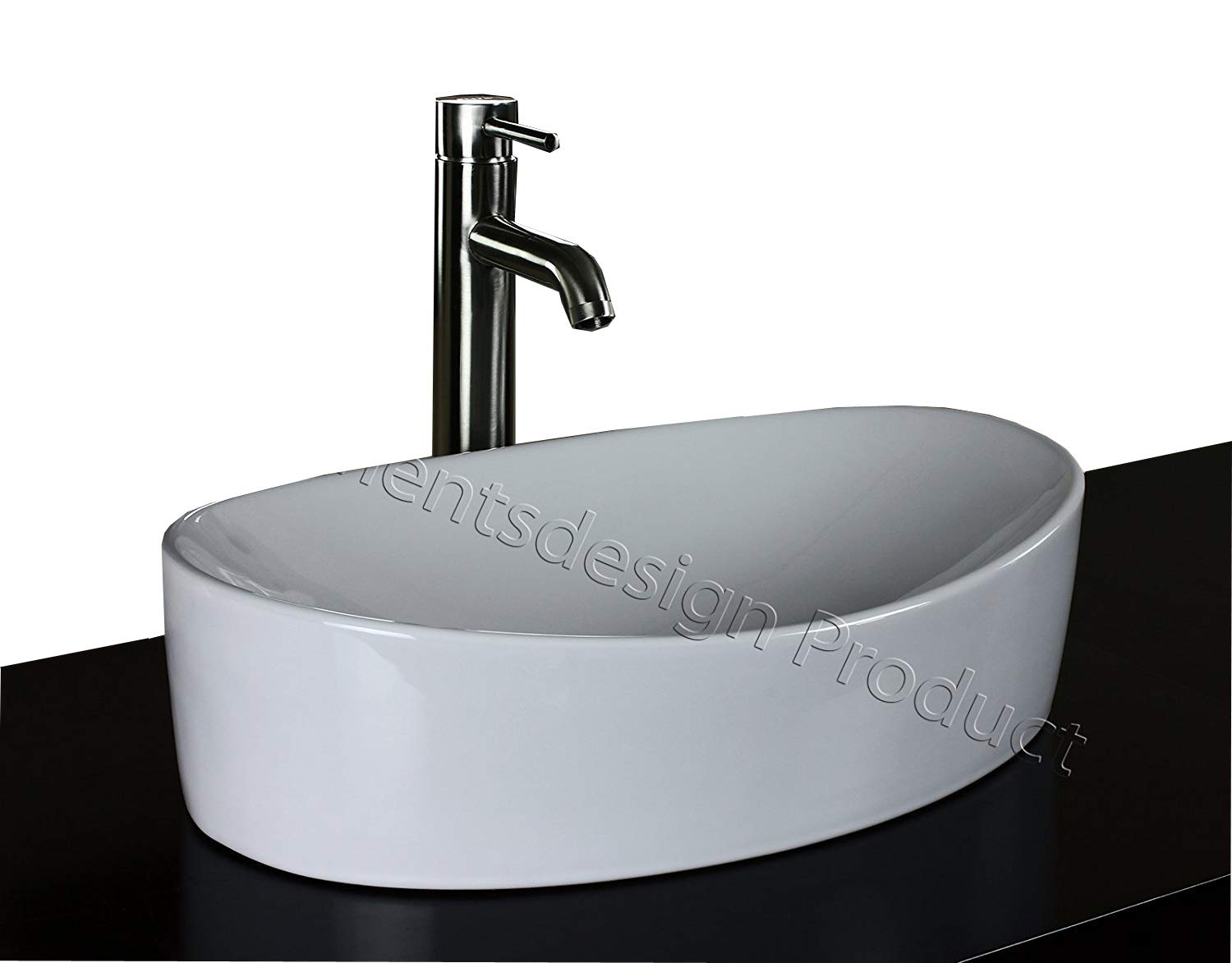 ELIMAX S Bathroom Ceramic Vessel Sink 7756CL3 With Brushed Nickel Faucet Drain
