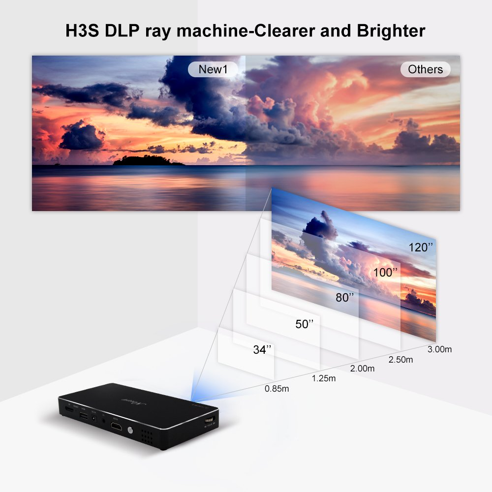 Projector, Mini Portable Pocket Projector with 120 inch Display - HD Mobile Pico Video Projector for iPhone Laptop Support 1080P Bluetooth HDMI USB TF Card – Include Warranty by New 1 (Image #2)