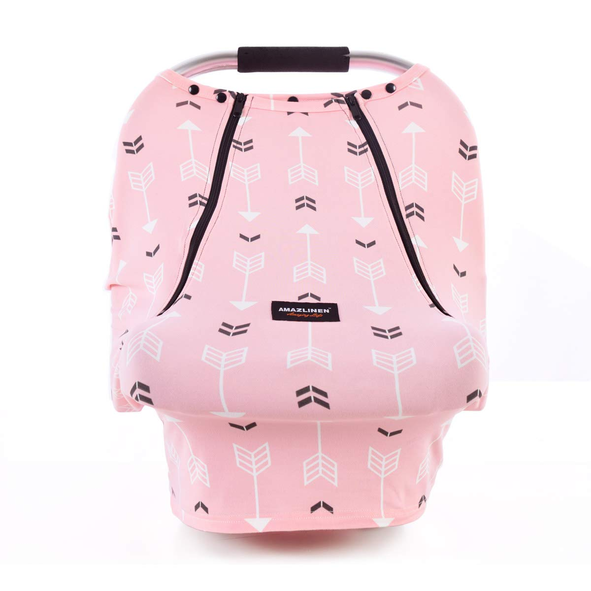 """Baby Car Seat Covers-AMAZLINEN Multifunctional Infant Carseat Canopy for Boys Girls,Stretchy Breathable Adjustable Peep Window Universal Fit Pink""""Baby Arrow"""""""