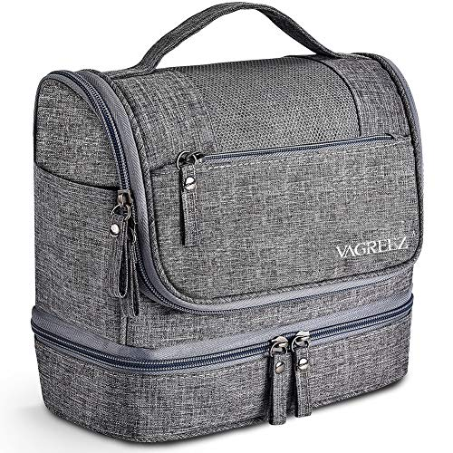 - Toiletry Bag, VAGREEZ Hanging Travel Toiletry Organizer Kit with Hook and Handle Waterproof Cosmetic Bag Dop Kit for Men or Women (Grey)