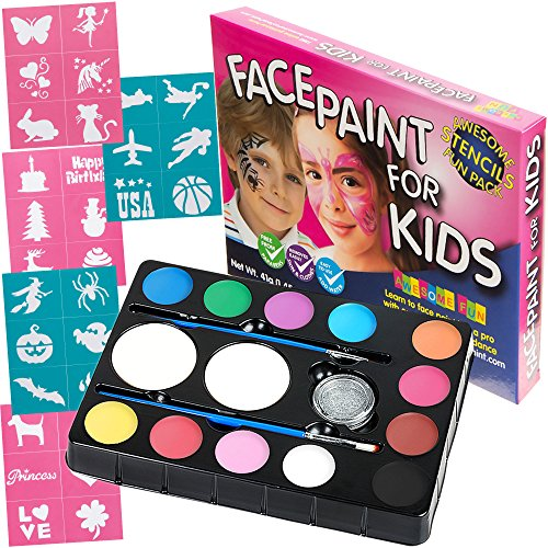 [Face Paint Kit with 30 Stencils: 12 Color Palette for Kids: 2 Brushes, 2 Sponges + Glitter Gel. Best Quality Professional Face Painting Party Set. Safe, Non-Toxic, Water-based, BONUS Online] (Costume Ideas For Day Of The Dead)