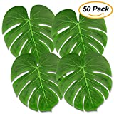 Tropical Palm Leaves 50PCS Large 13'' Simulation Leaf Faux Artificial Palm Leaves for Tropical Party Decorations Hawaiian Luau Safari Jungle Beach Theme BBQ Party Supplies Table Decorations