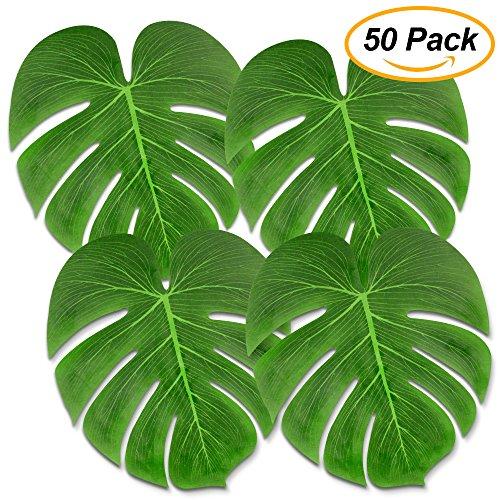 Tropical Palm Leaves 50PCS Large 13'' Simulation Leaf Faux Artificial Palm Leaves for Tropical Party Decorations Hawaiian Luau Safari Jungle Beach Theme BBQ Party Supplies Table Decorations by FLY2SKY