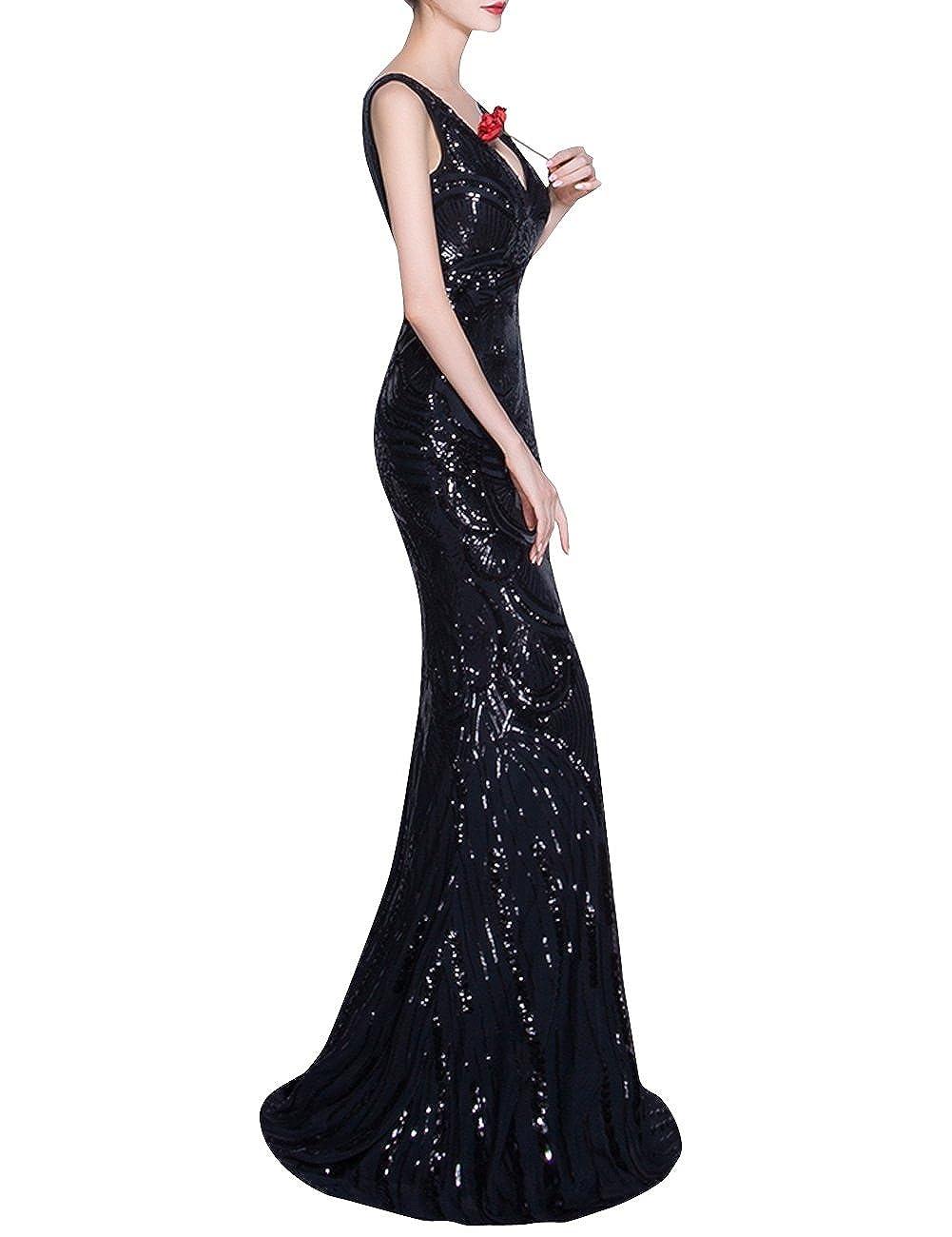 Dora Bridal Womens V-Neck Luxury Sequins Black Mermaid Formal Evening Dresses