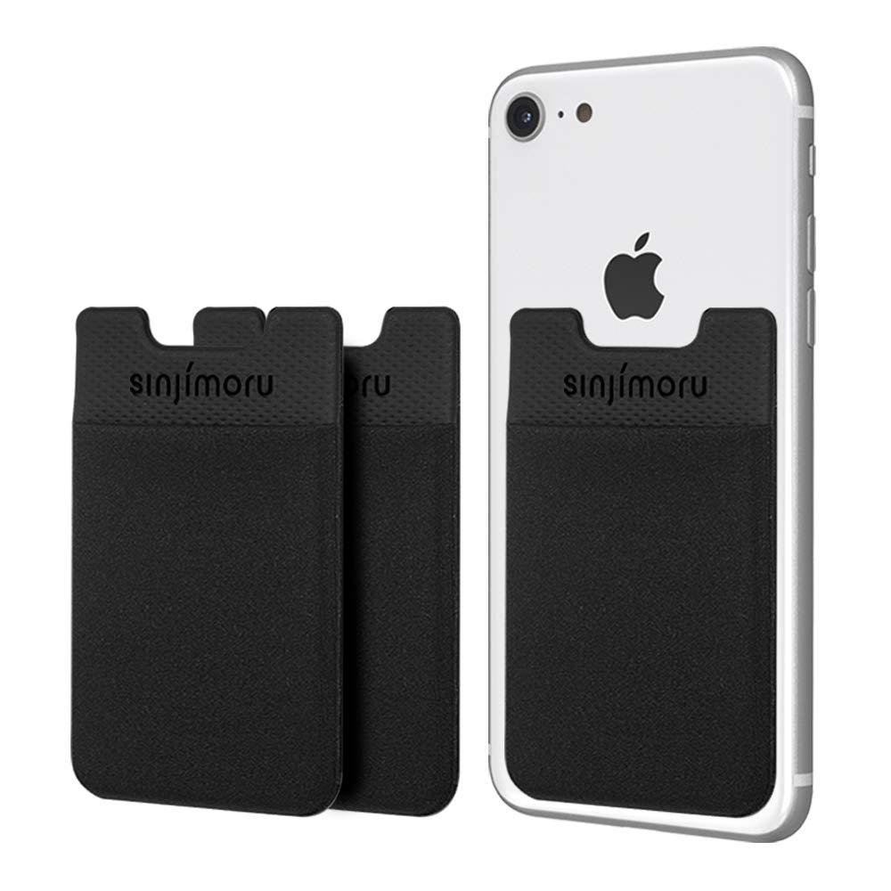 Sinjimoru Card Holder for Back of Phone, Minimalist iPhone Wallet Sticker. Sinji Pouch Basic 2, Midnight Black [3pack] by Sinjimoru