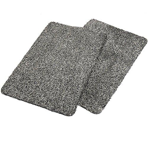 """Absorbent Pack - Haven Homes Clean & Tidy Indoor Doormat Twin Pack - Super Absorbent Door Mats - Latex Backing Non Slip Door Mats - Entrance Rugs 18""""x28"""" Machine Washable 2 Black Doormats"""