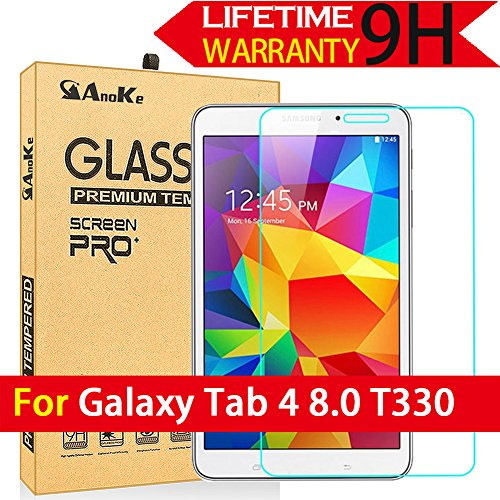 Galaxy Tab 4 8.0 Glass Screen Protector, T330 (Not Fit T331) AnoKe [Lifetime Warranty](0.3mm 9H) Tempered Film Sheild  For 8.0 T330 - Glasses Hipster Buy