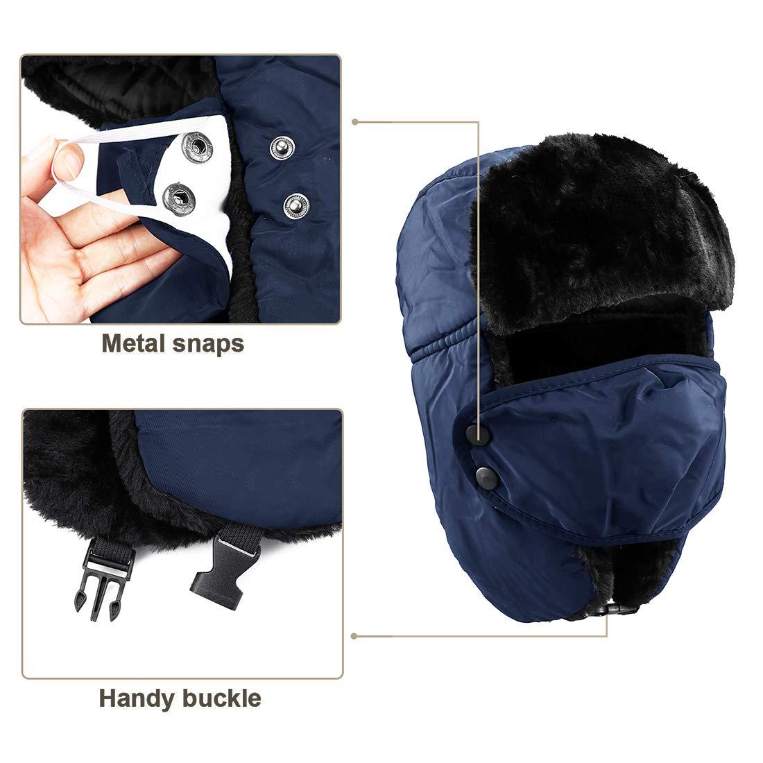 KRATARC Trapper Hat Winter Ski Windproof with Ear Flaps Warm Mask for Men Unisex