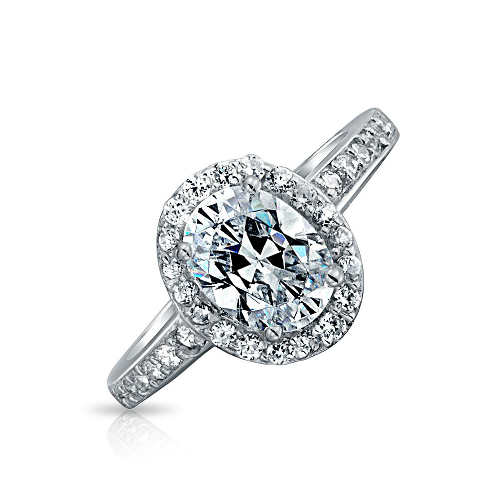 Bling Jewelry Vintage Style CZ Oval 1.5ct Engagement Ring Sterling Silver,Clear,5