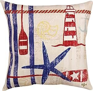 """18""""azul, rojo y marrón náutico Breeze impreso con estrella decorativa para interiores/exteriores almohada"""