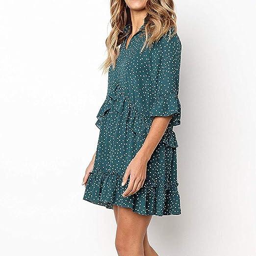 Hotkey Womens Dresses Plus Size Women V-Neck Flare Sleeve Cross Ruffles Polka Dot Print Swing Casual Dress