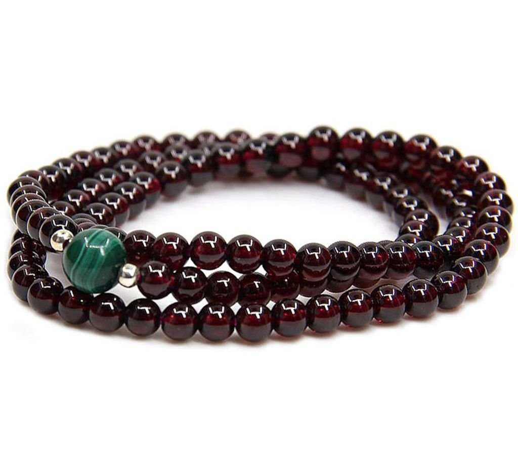 Amandastone Gemstone 5.5MM AAAAA Grade Wine Red Garnet With Natural Stone With 925 Sterling Silver Round Beads Bracelet/Necklace 18'' JAMAN-s7