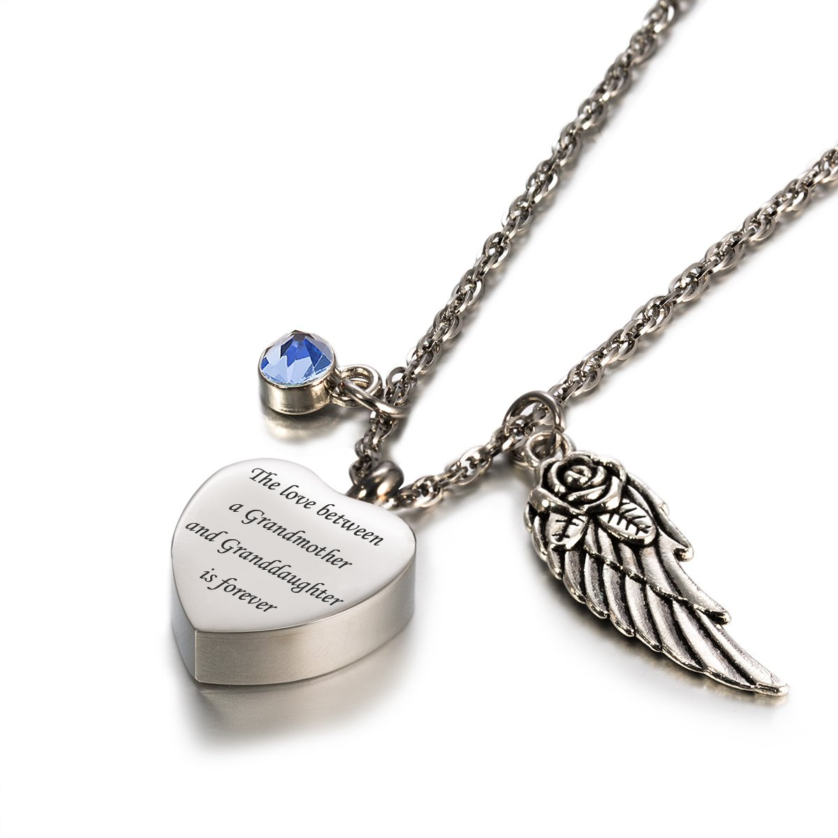 Glimkis Cremation jewelry for ashes love between Grandmother& Granddaughter is forever Birthstone urn necklaces for ashes,March