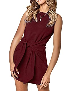 a923f25d6ec4 MIROL Women's Crewneck Sleeveless Tie Knot Front Bandage Solid Color Tunic  Party Mini Dress
