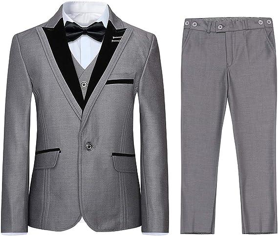 Boyland Boys 3 Pieces Formal Suits Classic Peak Lapel Slim Fit Tux Jacket Vest Pants Birthday Party Wedding