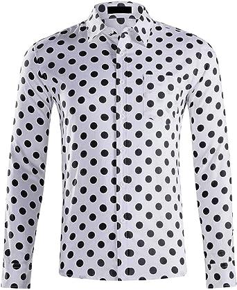 BingSai - Camisa de Manga Larga para Hombre, diseño de Lunares 4 US L: Amazon.es: Ropa y accesorios