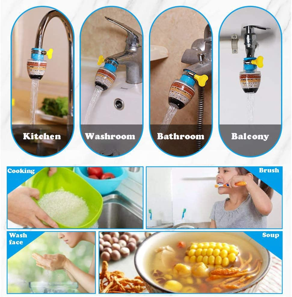 Pack of 3 Faucet Water Filter for Kitchen Bathroom Sink with 6 Layer Filters Kitchen Faucet Pur Water Purifier No-cracking No-leakage Fast Flow Kitchen Faucet Filter Sink for Round Faucets