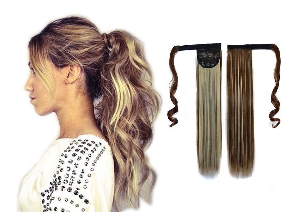 Beautiful 23 Inch 100g Colour 4# Dark Brown Synthetic Hair Extensions One Piece Wrap Clip In Women Ponytail ShowPower