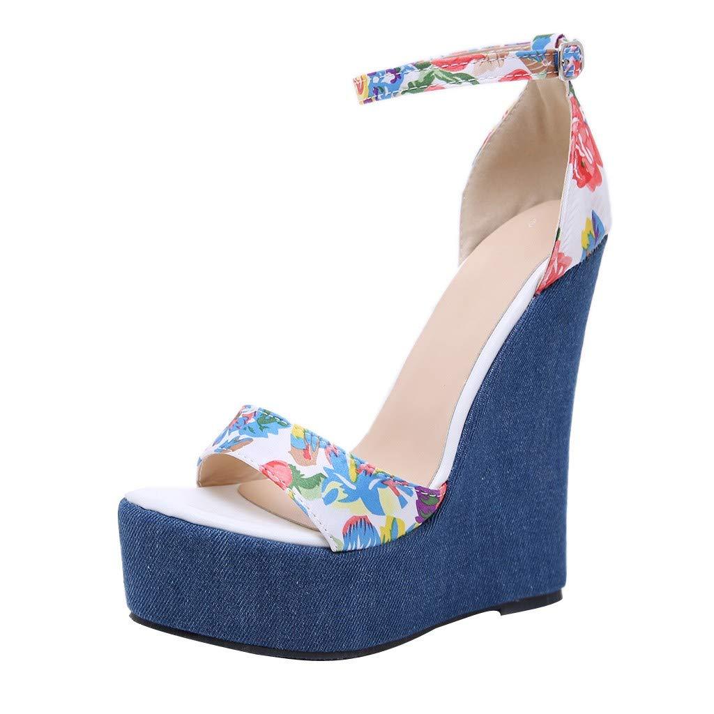 Women High Heels Platform Sandals Open Toe Ankle Strap Wedge Block Heel Shoes (Blue, US:6.0)