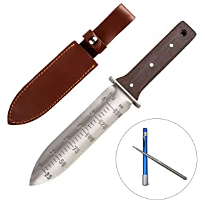 "12"" Hori Hori Garden Knife with FREE Diamond Sharpening Rod, Stainless Steel Blade with Protective Handguard and Full Tang Handle, Comes with Thick Sheath"