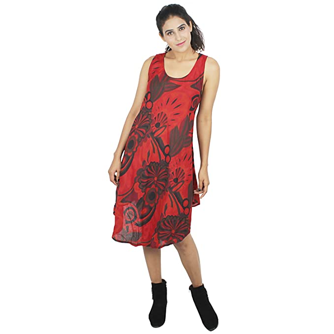 be128c57db7 Suman Enterprises Sundress Beach Wear Casual Tunic Dress (Red) at ...