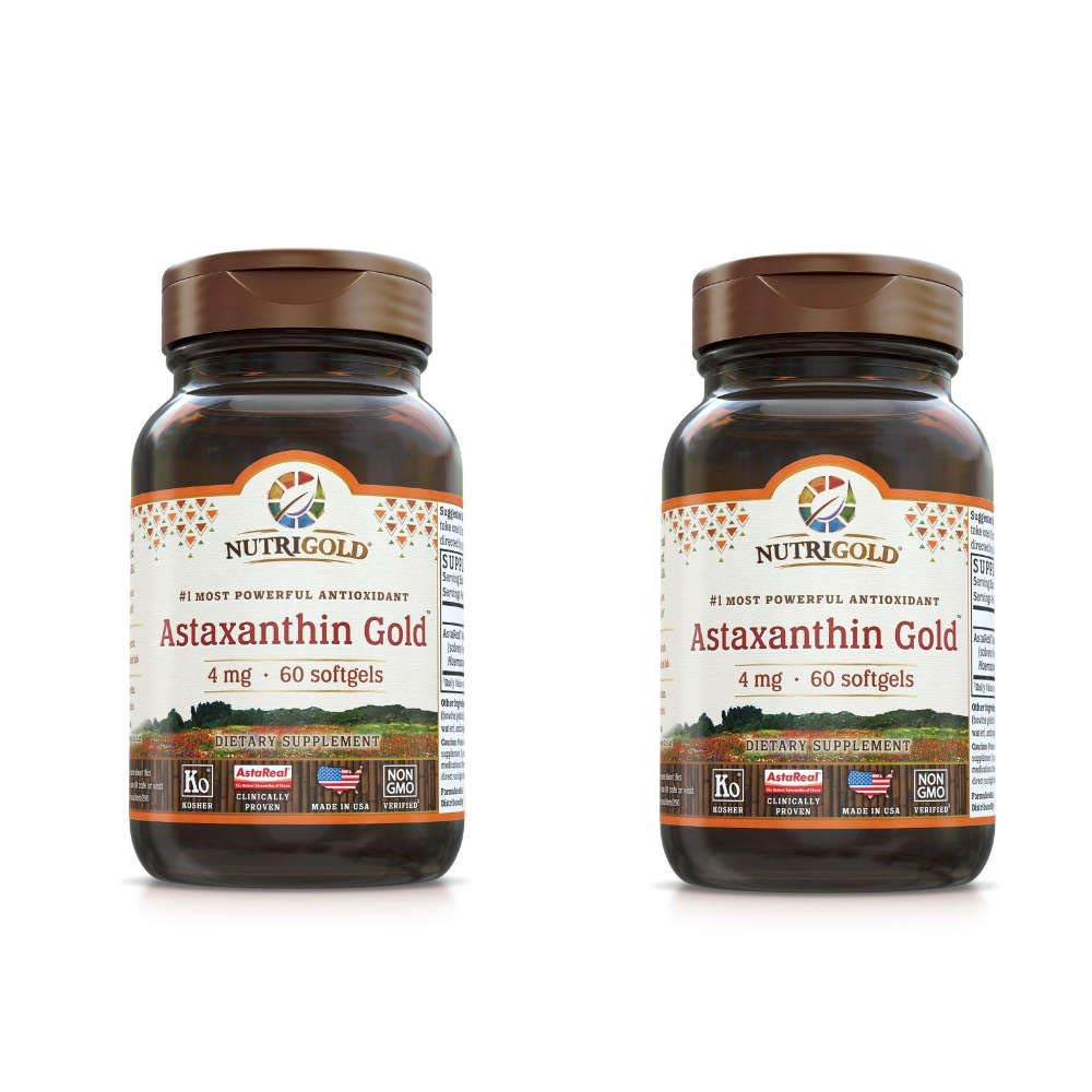 Nutrigold Astaxanthin Gold Most Powerful Antioxidant Supporting Skin, Immune and Eye Health 4 Miligrams Per Serving (60 Softgels) Pack of 2