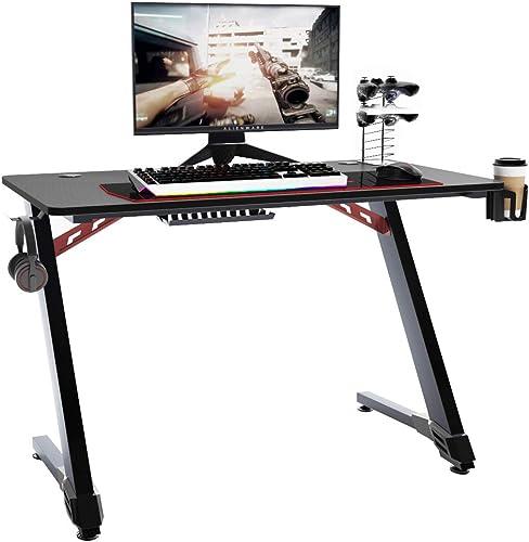 Soges 43.3 inch Z-Shaped Gaming Desk Computer Gamer Desk